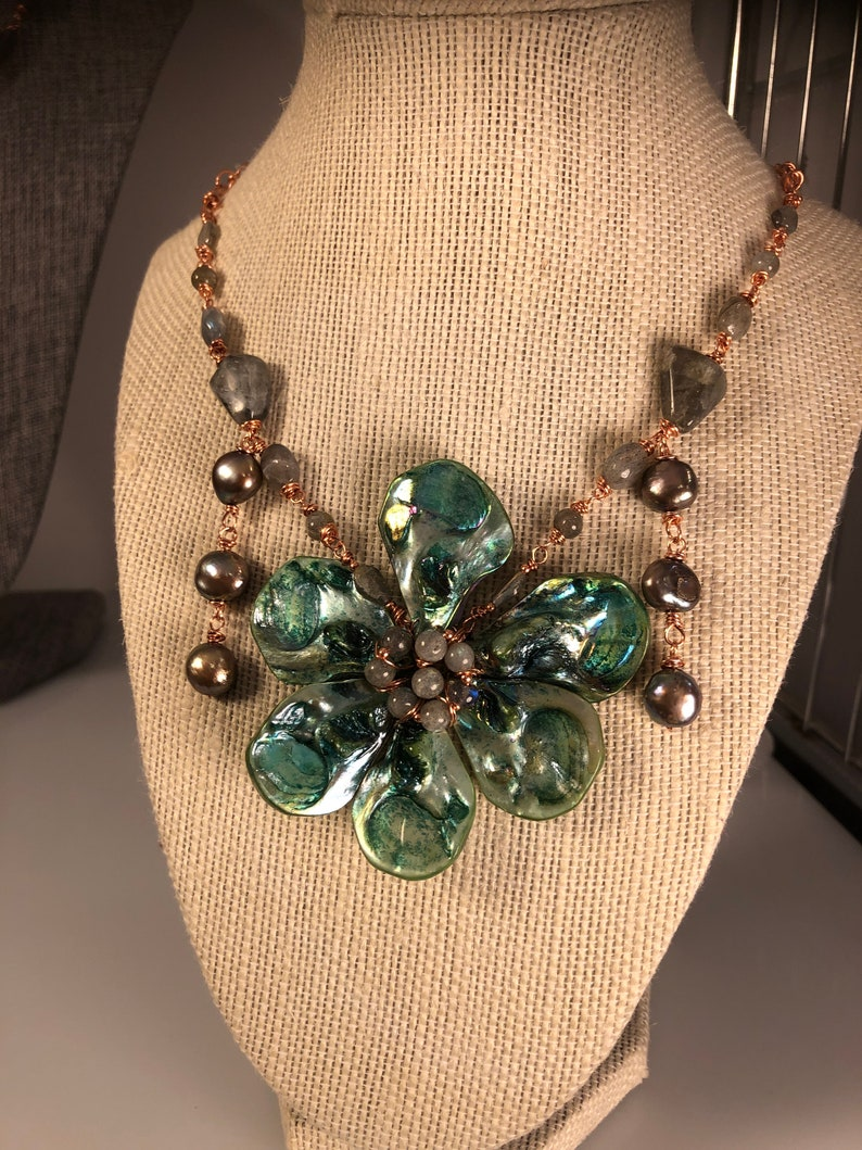 BIg and Bold Green Shell Flower Pendant Necklace with image 0