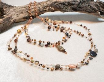 Neutral Tone Copper Art Bib Necklace with Autumn Jasper Pendant - Fields of Grain - Crocheted Wire Bib Necklace - Ardent Life Jewelry