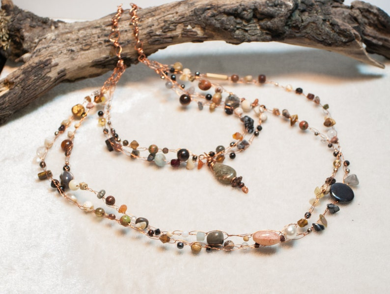 Neutral Tone Copper Art Bib Necklace with Autumn Jasper image 0