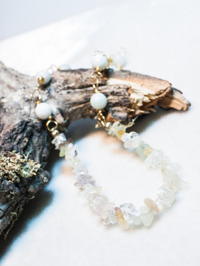 Mixed Gemstone and Amazonite Necklace on Brass Chain Simple image 0