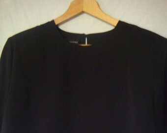Women's Vintage Blouse Short Sleeved Size M Black By Impressions