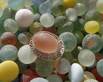 Rare Pink Sea Glass Sterling Statement Ring -size 7-