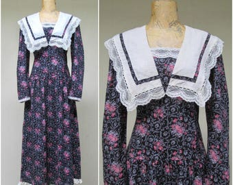 Vintage GUNNE SAX Dress / 80s Jessica McClintock Cotton Floral Print Dress / Medium
