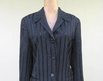 84b199f063800 ESCADA Jacket   Vintage 90s Black Satin Margaretha Ley Blazer   Medium