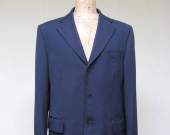 aae4f0d8911 Vintage 1980s Yves Saint Laurent Jacket, YSL pour homme Sport Coat, Navy  Wool 2-Button Blazer, Size 44 Long