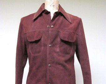 Vintage 1970s Jacket / 70s Mens Brown Suede Snap Shirt / 40 Chest / Medium