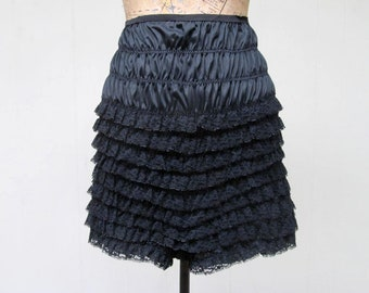 6b432a7a5805 Vintage 1960s Pettipants, 60s Black Nylon Ruched Lace Bloomers, Medium