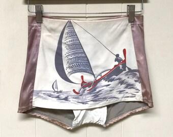 VERY RARE 40s CATALINA Children's Swimwear / 1940s Hand Blocked Sailing Scene Girl's Shorts