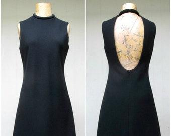 RARE 1960s Pierre Cardin Little Black Dress / Vintage Iconic Designer 60s Minimalist Black Wool Shift Rolled Neck and Hem / Small