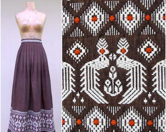 bae34d67db Vintage 1950s Guatemalen Maxi Skirt, 50s Brown Woven Cotton Embroidered  Quetzal Birds and Flowers, Small 28