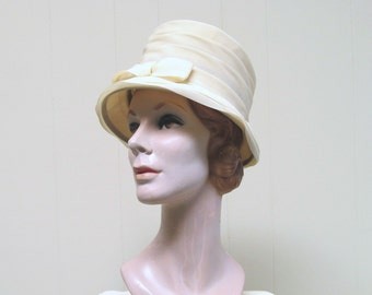 0c22895e826 Vintage 1960s Yellow Chiffon Bucket Hat