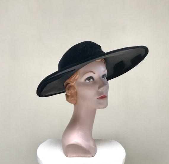 Vintage 1950s Picture Hat, 50s Black Straw Velvet… - image 2