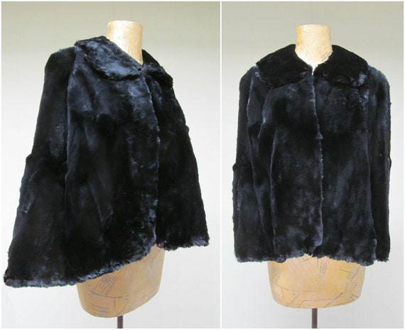 Vintage 1940s Beaver Fur Cape, 30s-40s Black Brown