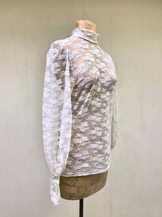 Vintage 1970s Ivory Lace Victorian Collar Blouse,… - image 3