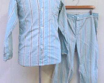 Vintage 1930s Men's Pajamas  / 30s RARE Babe Ruth Blue Striped Cotton Men's P.J.s / Small