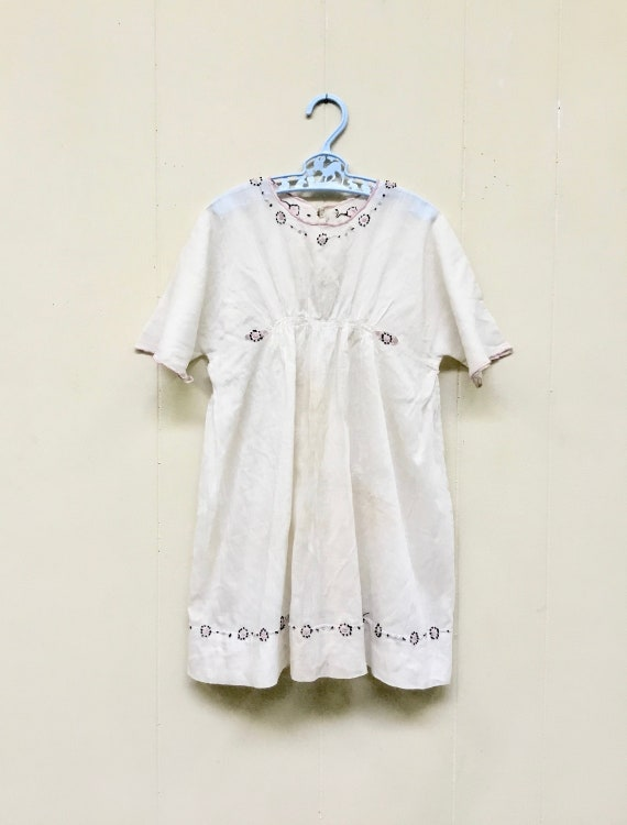 Antique 1910s Edwardian Hand-Embroidered White Ba… - image 1