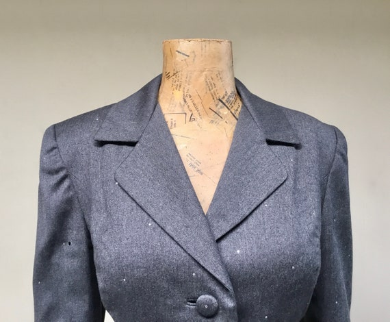 Vintage 1980s TRAVILLA Gray Wool Jacket, 80s does… - image 5