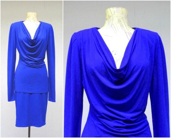 Vintage 1980s Norma Kamali Cobalt Blue Jersey Top