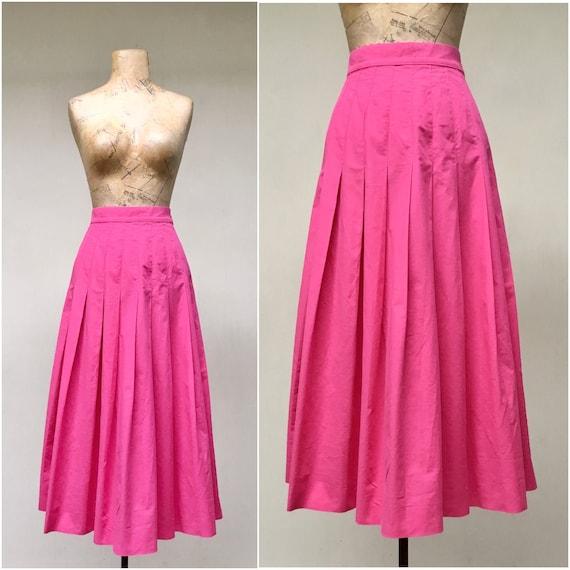 Vintage 1990s Laura Ashley Pink Cotton Skirt, 90s… - image 1
