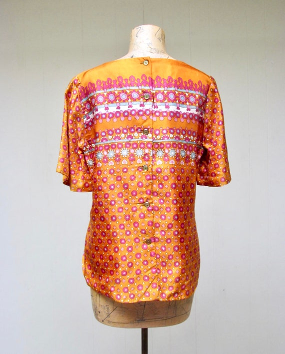 Vintage 1960s Blouse, 60s Orange Satin Alex Colma… - image 3