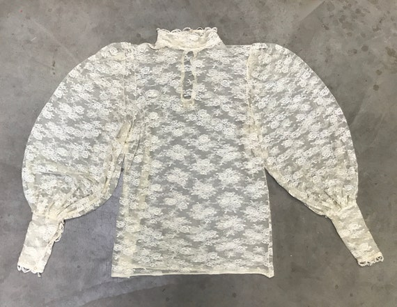 Vintage 1970s Ivory Lace Victorian Collar Blouse,… - image 5
