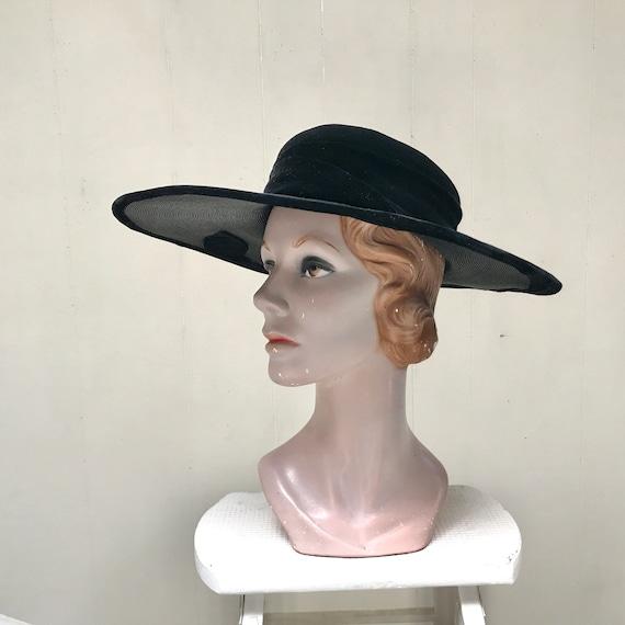 Vintage 1950s Picture Hat, 50s Black Straw Velvet… - image 4