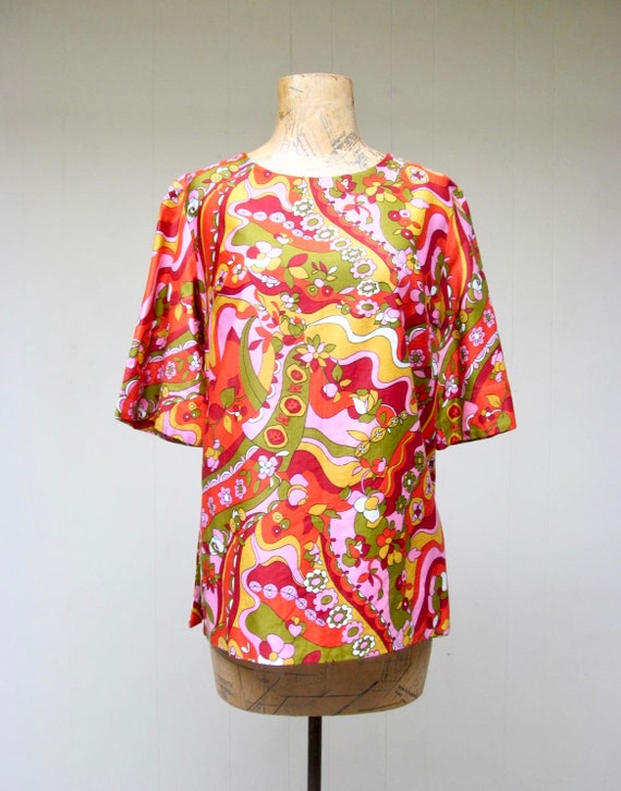 Vintage 1960s Blouse, 60s Psychedelic Cotton Satee