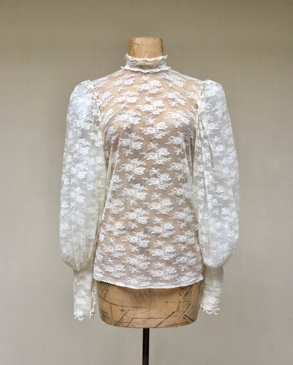 Vintage 1970s Ivory Lace Victorian Collar Blouse,… - image 2