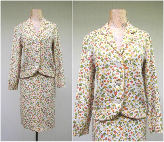 Vintage 1960s Linen Skirt Suit, 60s Citrus Fruit P