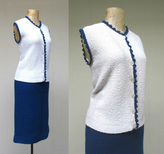 Vintage 1940s 1950s Boucle Knit Sweater Set, 40s 5