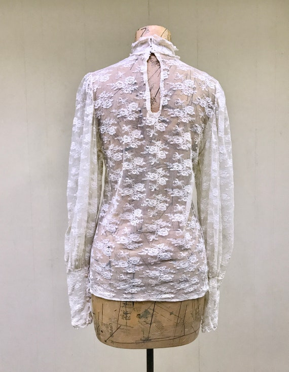 Vintage 1970s Ivory Lace Victorian Collar Blouse,… - image 4
