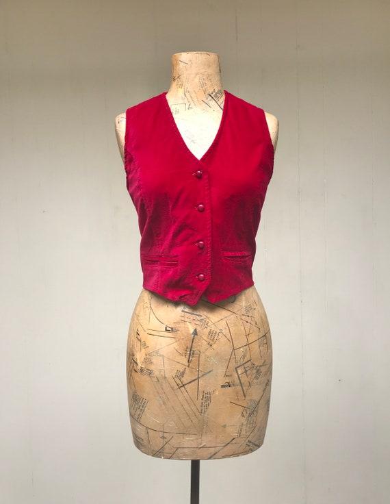 Vintage 1970s Red Velveteen Vest, 70s Crimson Velv