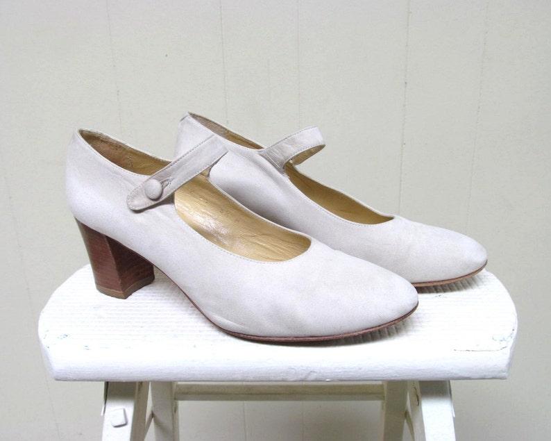 90s Ivory Nubuck Mary Janes Vintage 1990s Charles David Shoes Size 6 12 US