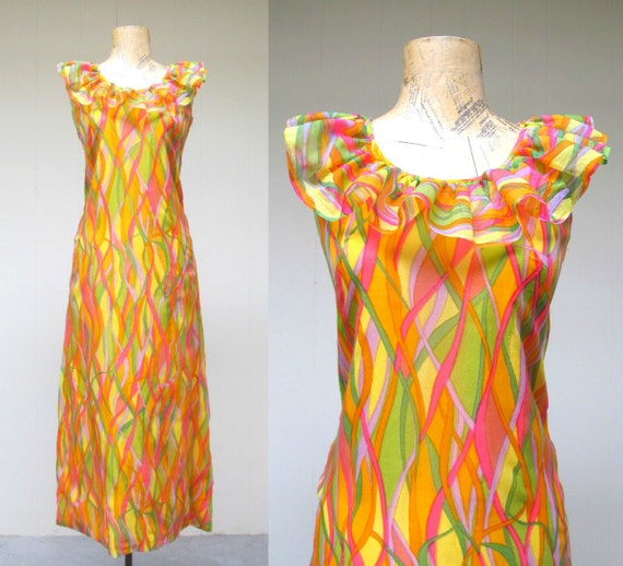 Vintage 1960s Colorful Abstract Print Maxi Dress,