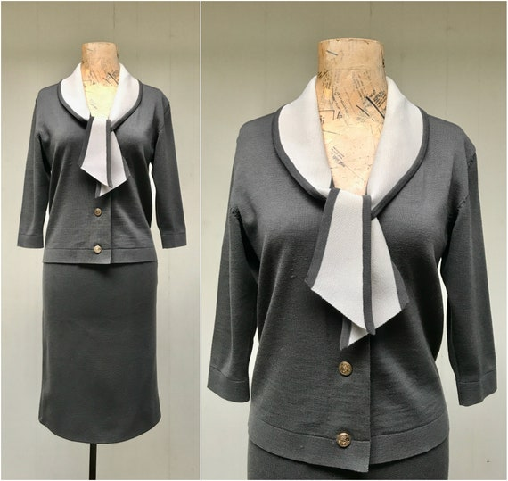Vintage 1950s Gray Knit Skirt Suit, 50s Amalfi Cha