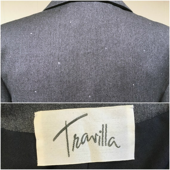 Vintage 1980s TRAVILLA Gray Wool Jacket, 80s does… - image 9