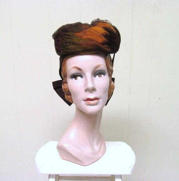 Vintage 1940s Feather Hat, 40s Tilt Hat, 40s Earth