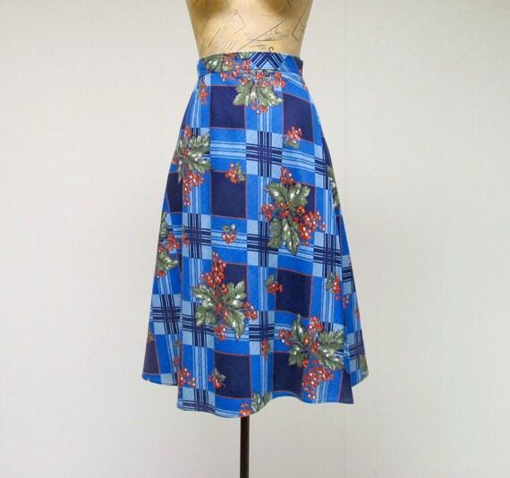 Vintage 1970s Denim Wrap Skirt, 70s Blue Cotton Be