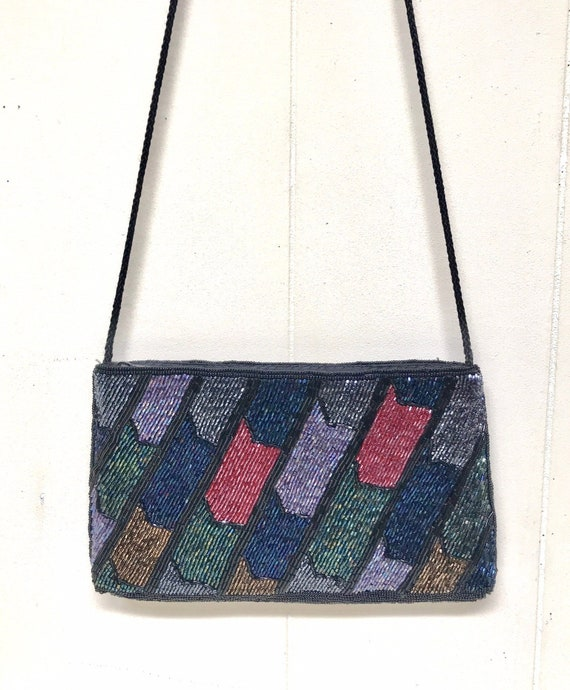 Vintage 1980s Beaded Evening Bag, Iridescent Bugle