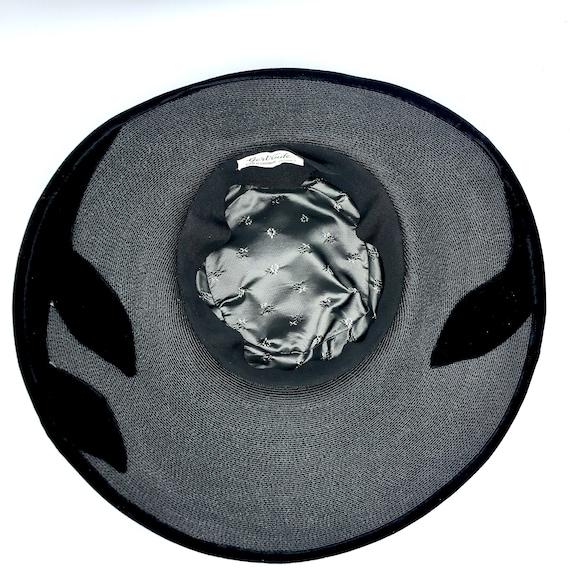 Vintage 1950s Picture Hat, 50s Black Straw Velvet… - image 7