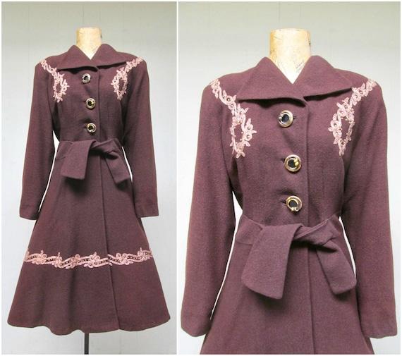 Vintage 1940s Brown Princess Coat, 40s Wool Crepe