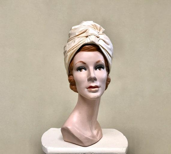 Vintage 1960s Ivory Satin Turban, Lilly Daché Hat,