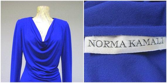 Vintage 1980s Norma Kamali Cobalt Blue Jersey Top… - image 5