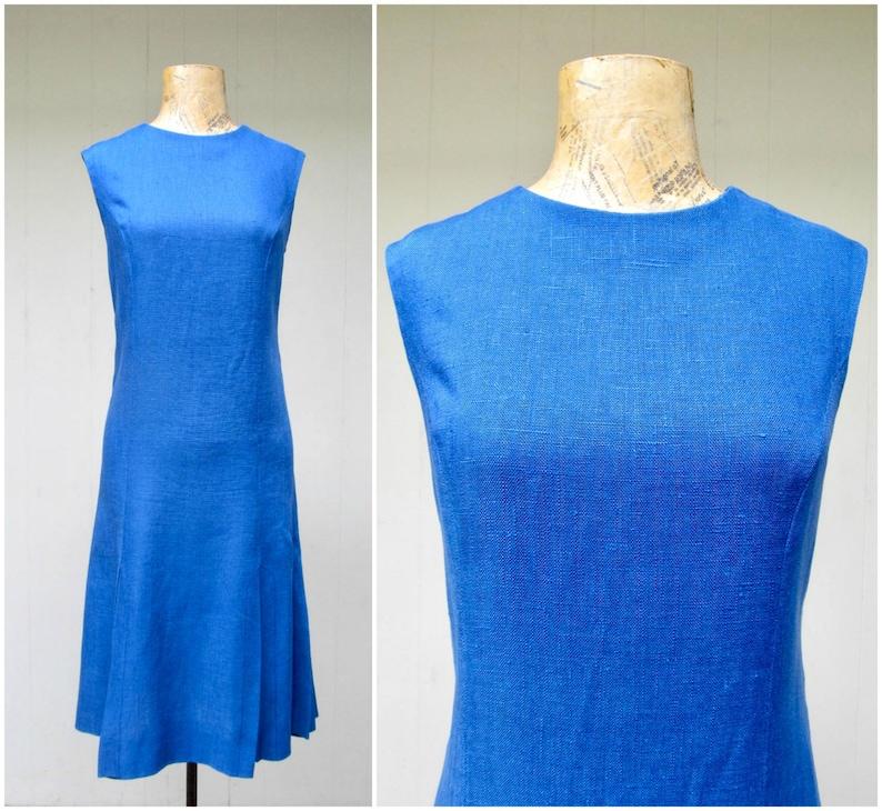 3be6cf2693 Vintage 1960s Mod Blue Linen Dress Saks Fifth Avenue Princess