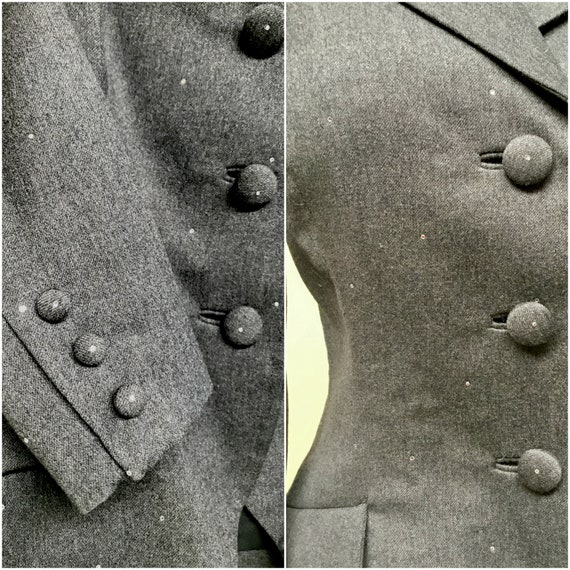 Vintage 1980s TRAVILLA Gray Wool Jacket, 80s does… - image 7