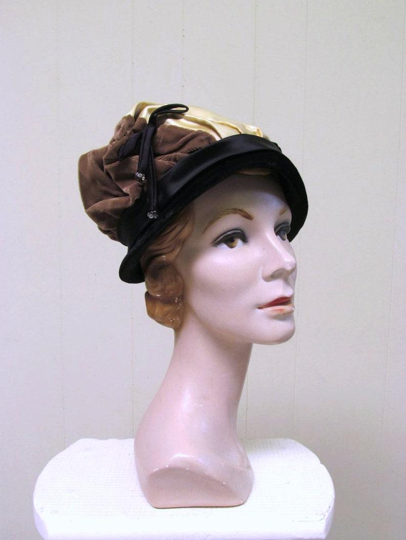 d50928b13e6 Vintage 1950s Fancy Evening Hat 50s Black Velvet Gold Satin