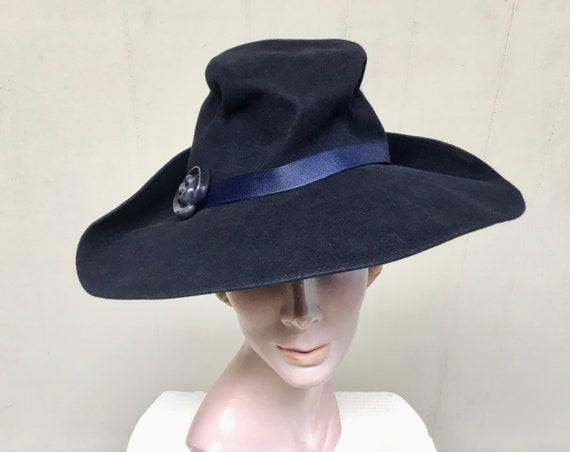 Vintage 1930s Navy Wool Felt Fedora, Pinched Crown