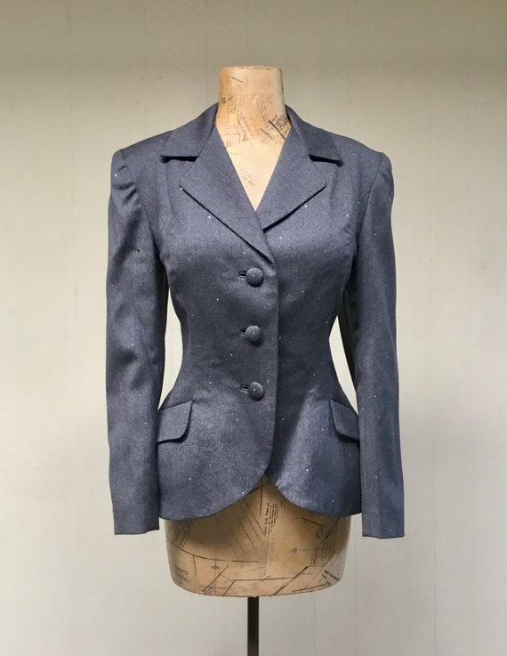 Vintage 1980s TRAVILLA Gray Wool Jacket, 80s does… - image 4