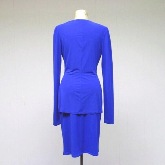 Vintage 1980s Norma Kamali Cobalt Blue Jersey Top… - image 3