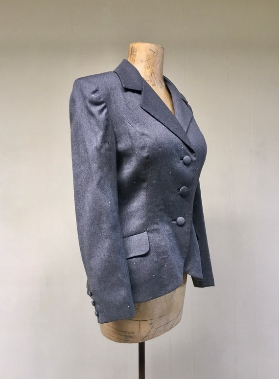 Vintage 1980s TRAVILLA Gray Wool Jacket, 80s does… - image 2